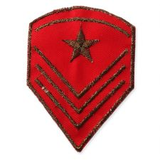 RED SHIELD MOTIF IRON ON EMBROIDERED PATCH APPLIQUE